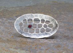 Cell Brooch Hammered Sterling Silver with Tiny by ZLeslieJewelry, $110.00