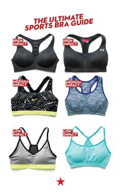 Support System: Find the right sports bra to fit every type of workout. Choose low impact for walking, yoga and pilates, medium impact for cycling and dance and high impact for running and intense cardio.
