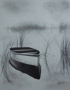 Misty boat on the lake. Pencil drawing by Elena Whitman. Misty boat on the lake. Pencil drawing by Elena Whitman. Misty boat on the lake. Pencil drawing by Elena Wh 3d Pencil Sketches, Pencil Drawings Of Nature, Pencil Drawing Tutorials, Nature Drawing, Landscape Drawings, Pencil Art Drawings, Cool Drawings, Drawing Sketches, Drawing Ideas