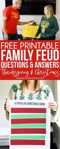 to play Family Feud at home Get these free printable game questions! Funny questions about Thanksgiving and Christmas that are perfect for a holiday party! And simple instructions to DIY your own homemade family feud board and template at home! Funny Christmas Games, Popular Christmas Songs, Xmas Games, Holiday Party Games, Christmas Party Games For Groups, Christmas Party Games For Kids, Family Party Games, Halloween Party, Christmas Party Decorations Diy