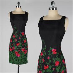 vintage+1960s+dress+.+black+floral+silk