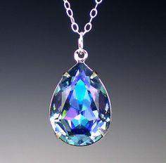 Rhinestone Necklace Aqua Vitrail Light Swarovski by milminedesign, $22.00