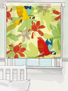 A spectacular flash of colour awaits in this stunning Beauty Of Forest roller blind design. Jungle flowers and brightly coloured birds will give your home a tropical look. #designer #roller #blind #sabine #reinhart
