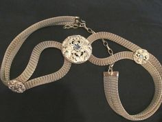 Sarah Cavender Metalworks Ornate gold mesh belt Large center medallion 2 smaller #SarahCavenderMetalworks