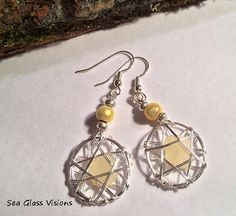 Earrings Yellow Sea Glass Genuine Beach Glass by SeaGlassVisions, $20.00