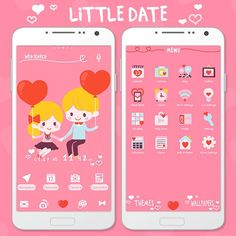 """Little Date"" Available From:2/10 '16 (EST) This illustration of a little couple is just too cute to resist! Don't hold back! Bring it to your smartphone. http://app.android.atm-plushome.com/app.php/app/themeDetail?material_id=1417&rf=pinterest #cute #wallpaper #love #kawaii #icon #girl #plushome  #homescreen #widget #deco"