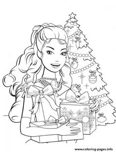 Barbie Princess Christmas Coloring Pages Printable And Book To Print For Free Find More Online Kids Adults Of