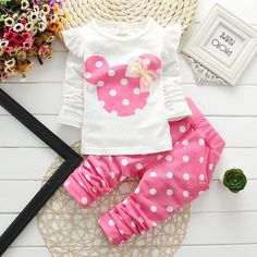Fashion 2018 Baby Set Dot Cotton Baby Girl Clothes Kids Clothing Set Girl (Pants+T-shirt) Christmas For Baby Suit Mutli-Colors Baby Outfits, Outfits Niños, Kids Outfits Girls, Winter Outfits, Spring Outfits, Tops For Leggings, Leggings Are Not Pants, Floral Leggings, Terno Casual