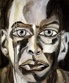 """slcvisualresources: """"Francesco Clemente (Italian, b. 1952), Grisaille Self-Portrait, 1997. Oil on linen. """""""