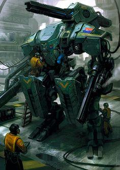 Mech Concept Art by Daryl Mandryk mecha suit Armadura Sci Fi, Arma Steampunk, Rpg Star Wars, Arte Peculiar, Arte Cyberpunk, Arte Robot, Sci Fi Armor, Larp Armor, Sci Fi Weapons