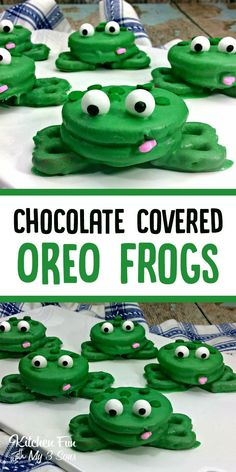 Frog Oreos Fun Kids Snack Chocolate covered Oreos with pretzel feet make this fun frog snack Snacks To Make, Fun Snacks For Kids, Kids Meals, Kid Snacks, Snacks Recipes, Meal Recipes, Kids Fun Foods, Fun Recipes For Kids, Fun Foods To Make