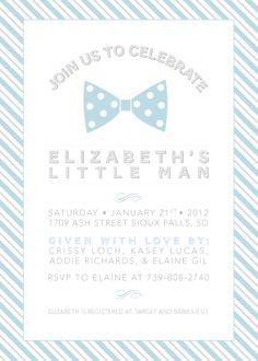 Little Man Bow Tie Invitation Stripes