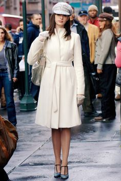 Yigal Azrouel ivory coat, Marni shoes, Chanel hat and gloves