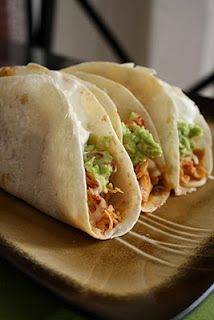 Easy Crockpot Chicken Tacos...dump 1 envelope of taco seasoning, 6 boneless, skinless chicken breasts & a jar of salsa in the crockpot, stire and cook on high(4-6 hrs.) or low(6-8 hrs.) Should be able to shred with a fork. Place meat mixture in tortillas and top with your favorite toppings!