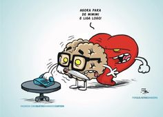 Coração x cérebro Heart Vs Mind, Funny Memes, Hilarious, Funny Love, Romance, Mindfulness, Cartoon, Thoughts, Feelings