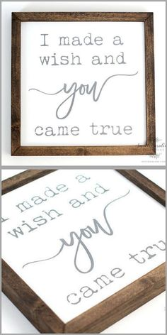 �I made a wish and you came true� Sign   Farmhouse Decor   Rustic   Cottage   Fixer Upper   Home Decor #Ad