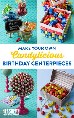 Celebrate summertime with HERSHEY'S! Explore fun summer-themed candy crafts, candy games, family activities, and more. Birthday Bash, Carnival Birthday, Birthday Games, Birthday Parties, Birthday Ideas, Candy Crafts, Candy Centerpieces, Birthday Centerpieces, Holiday Parties