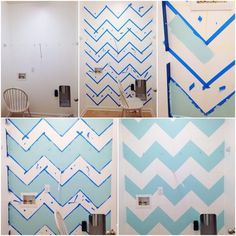 Green and white chevron wall for the kids bathroom Zig Zag Wall, Wall Paint Patterns, Chevron Patterns, Palette Deco, Diy Wall Painting, Faux Painting, Diy Wand, Deco Design, Design Design