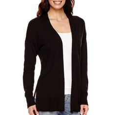 Liz Claiborne® Long-Sleeve Split-Hem Open-Front Cardigan  found at @JCPenney would need a size medium in the color Norway Green Hthr