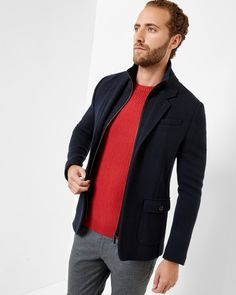Detachable funnel neck jersey jacket - Navy   Jackets & Coats   Ted Baker ROW Around $250.