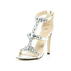 White gem embellished barely there heels $140.00