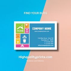 Find your bliss - Creative colorful business card design and printing #stationery #branding