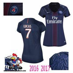 Vente Nouveau Maillot Football Paris Saint-Germain Bleu Femme (LUCAS 7) Domicile…
