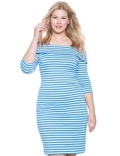 Plus Size Dress-  Striped Off the Shoulder Dress (plussize) #plussizefashion #dress #summer