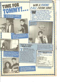 Tommy Page, Full Page Vintage Clipping