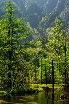 Kamikochi - mountainous highland in the western portion of Nagano, Japan