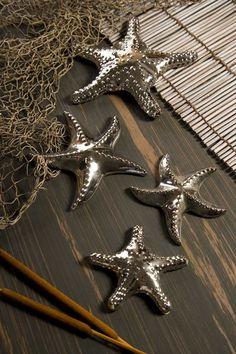 IMAX Cortland Silver Star Fish - Set of 4