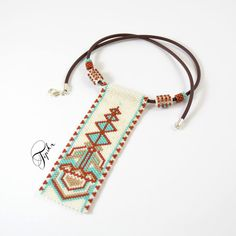 Peyote necklace made with TOHO beads, my own pattern colors: turquoise, ecru, brown, gold silver clasp beaded part: 3,5 x 10cm