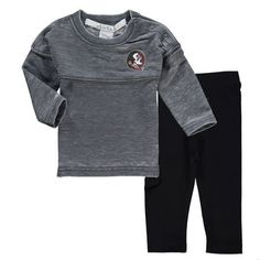 chicka-d Florida State Seminoles Girls Newborn & Infant Gray French Terry Varsity Jersey Top and Leggings Set