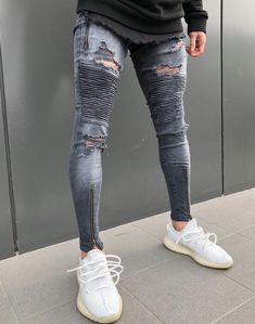 Dark Grey Washed Distressed Biker Jeans with Zipper Blue Ripped Jeans, Striped Jeans, Super Skinny Jeans, Skinny Legs, Skinny Fit, Fashion Moda, Fashion Pants, Korean Fashion Men, Biker Jeans