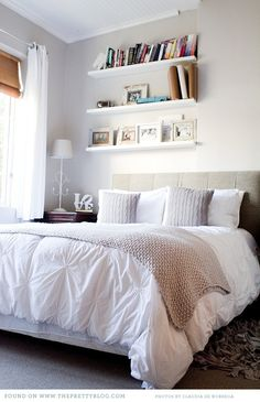theprettyblog.com - good idea for an uneven wall, could use in the guest room