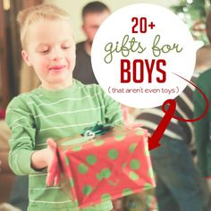 Some great non-toy gifts for boys this year! AMEN! No toys in our house (yuck), but these would actually be fun! Note that the comments are helpful, too.