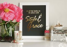 Style and Grace Gold Foil Print - by Pink Grey NYC Biggie hip hop Art