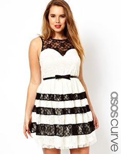 Image 1 of ASOS CURVE Skater Dress With Contrast Lace--Plus Size. Love this too..