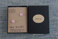 """Pink glazed porcelain mini flower stud earrings """"MINI BLOOMS""""super cute and for spring/summer by TenaciousBloom on Etsy"""