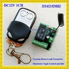 Radio Remote Control Switch 12v DC Mini Receiver Metal Push Button Transmitter Learning Code 315/433 Momentary Toggle Latched