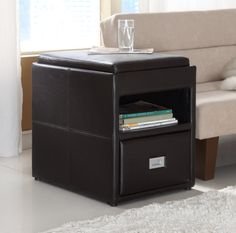 Homelegance Carbon Side Table with Reversible Tray Top - Leatherette  Price: $159.00