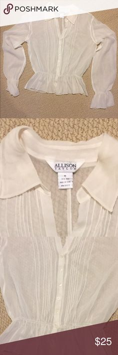 Beautiful Allison Taylor blouse delicate feminine Very special glass for a very special woman☃️☃️Crazy prices all in my closet!  Gotta Move it all out these items are less than one year old !   I've lost weight and we're moving sale, both combined = HUGE SAVINGS TO YOU !!! Priced to sell quick Shop my closet now for XL - L and size 9-10 quality shoes and accessories! Allison Taylor Tops Blouses