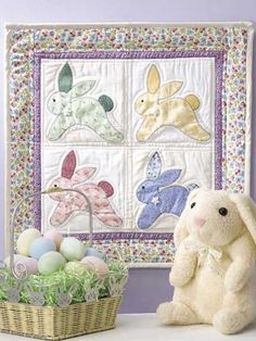 Vintage Bunnies Wall Quilt - free pattern. Expand it by a few and it would be a quick and easy quilt.
