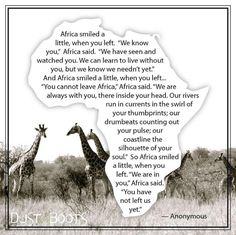 """Africa smiled a little when you left. We are in you…you have not left us yet"" – A Tale of Two Cities (and vastly different Countries) Africa Quotes, Quotes About Africa, Scrapbooking Album, South Africa Safari, Namibia, African Proverb, Les Continents, When You Leave, Out Of Africa"