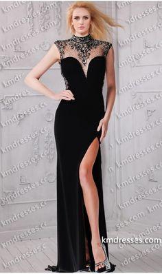 stopping beaded sheer sweetheart high side slit evening dress