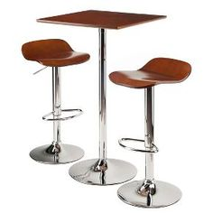 3 Piece Kallie Bar Height Pub Table Set with Air Lift Adjustable Stools Wood Seat/Cappuccino Bright Chrome - Winsome