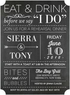 Alluring Eats - Signature White Rehearsal Dinner Invitations - East Six Design - Gunmetal - Gray : Front