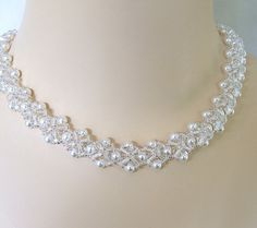 Crystal Crowns Clear Crystal and White Pearls by BridalDiamantes, $140.00