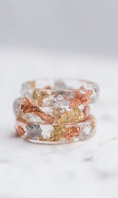 Tricolor Resin Stacking Ring Gold and Silver Flakes Transparent Ring OOAK rose gold boho minimal chic jewelry