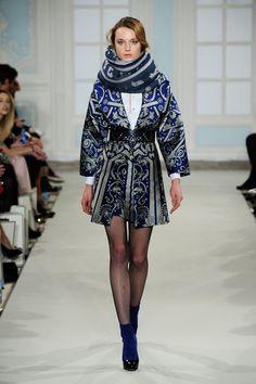 Temperley London Winter 14  Isidora Coat, Luella Pintuck Shirt, Isidora Pencil Skirt, Sagrada Laser Cut belt